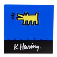 キースヘリング メモ帳 スクエアメモパッド ブルー POP ART 文房具 アーティスト グッズ メール便可