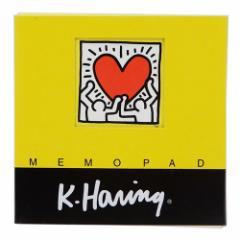 キースヘリング メモ帳 スクエアメモパッド イエロー POP ART 文房具 アーティスト グッズ メール便可