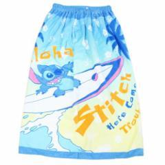 プールタオル 子供 ラップタオル リロ&スティッチ 80cm 丈 巻き巻きタオル アロハウェーブ ディズニー スイミング 水泳 レジャー 用品