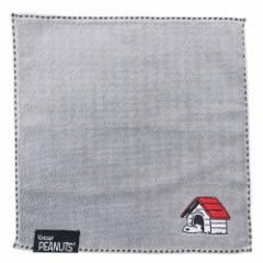 スヌーピー ミニタオル 刺繍 ジャガード ハンカチタオル ストライプ グレー ピーナッツ 25×25cm キャラクター グッズ メール便可