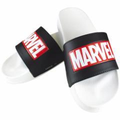 MARVEL ロゴ サンダル シャワー サンダル ホワイト×ブラック マーベル 男女兼用 キャラクター グッズ