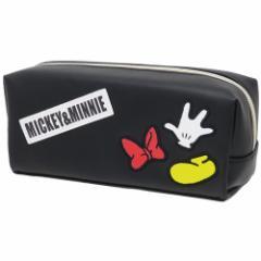 ミッキー&ミニー 筆箱 ワッペン BOX ペンケース ボックスロゴ ディズニー 新学期準備雑貨 キャラクター グッズ