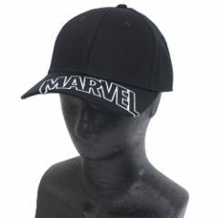 MARVEL つば付き 帽子 ベースボール カーブ キャップ 刺繍ロゴブラック マーベル 男女兼用 キャラクター グッズ