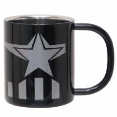 キャプテンアメリカ 保温 保冷 マグカップ 真空 ステンレス 二重マグ ブラック マーベル 300ml キャラクター グッズ