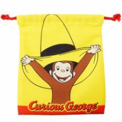 おさるのジョージ 巾着袋 きんちゃくポーチ 帽子&蝶々 18×20.5cm キャラクター グッズ メール便可