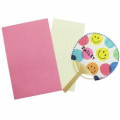 スマイリーフェイス サマーカード 一筆箋付き ミニ竹うちわカード Colorful Smiley 暑中見舞い 日本製 グッズ メール便可