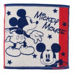 ミッキーマウス ハンドタオル 無撚糸 ウォッシュタオル スクールメイト ディズニー 35×35cm キャラクター グッズ メール便可