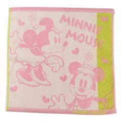 ミニーマウス ハンドタオル 無撚糸 ウォッシュタオル スクールメイト ディズニー 35×35cm キャラクター グッズ メール便可