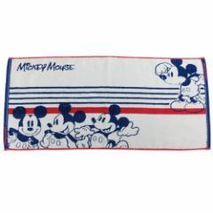 ミッキーマウス ロングタオル 無撚糸 フェイスタオル スクールメイト ディズニー 34×75cm キャラクター グッズ メール便可