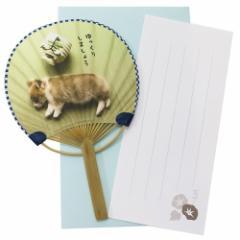 サマーカード いぬ 一筆箋付き ミニ竹うちわカード ゆっくりしましょう 暑中見舞い 日本製 グッズ メール便可