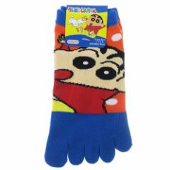 クレヨンしんちゃん 女性用 靴下 レディース 5本指 ソックス しんのすけ 23〜25cm アニメキャラクター グッズ メール便可