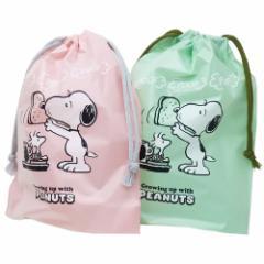 スヌーピー 巾着袋 ポリ巾着 2枚セット ピーナッツ 23×29cm キャラクター グッズ メール便可