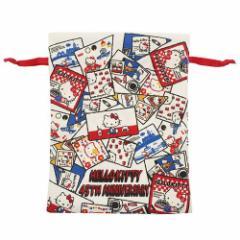 ハローキティ 巾着袋 トラベル きんちゃく S 45周年記念 コミック サンリオ 20×26cm キャラクター グッズ メール便可