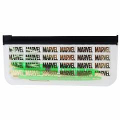 MARVEL BICペンセット クリアポーチ付き 黒 ボールペン&マーカー グリーン マーベル 文房具 キャラクター グッズ メール便可