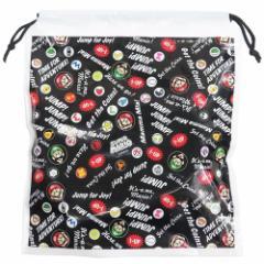 スーパーマリオ ビニール 巾着 ポリ きんちゃく 総柄 クロ nintendo 30×34×10cm キャラクター グッズ メール便可