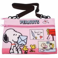 スヌーピー ショルダーバッグ サコッシュ ピンク ピーナッツ ミニショルダー キャラクター グッズ メール便可