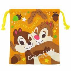 チップ&デール 巾着袋 マチ付き きんちゃく ディズニー 18×20×7cm キャラクター グッズ メール便可