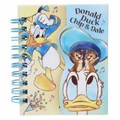 ドナルド&チップ&デール メモ帳 マグネット付き ミニリングメモ ディズニー A7サイズ キャラクター グッズ メール便可
