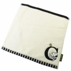 スヌーピー ミニタオル イニシャル ハンカチタオル アルファベット C ピーナッツ 25×25cm キャラクター グッズ メール便可