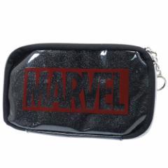 マーベル 筆箱 マルチ ペンケース ロゴ グリッターブラック MARVEL 21×11×2.5cm キャラクター グッズ メール便可