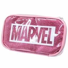 マーベル 筆箱 マルチ ペンケース ロゴ グリッターピンク MARVEL 21×11×2.5cm キャラクター グッズ メール便可