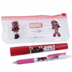 MARVEL × GuriHiru マッキー 油性 赤ペン & サラサクリップ ボールペン ペンセット デッドプール レッド マーベル メール便可