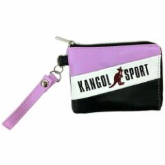 KANGOL SPORT 定期入れ トリコカラーライン コインケース パスケース パープル 小銭入れ ファッションブランド グッズ メール便可