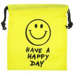 巾着袋 SMILE YELLOW ナイロン きんちゃく ポーチ S 18×20.5cm プチギフト グッズ メール便可