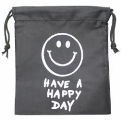 巾着袋 SMILE BLACK ナイロン きんちゃく ポーチ S 18×20.5cm プチギフト グッズ メール便可