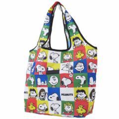 スヌーピー エコバッグ 折りたたみ くるくる ショッピングバッグ ブロック ピーナッツ 45×60×15cm キャラクター グッズ