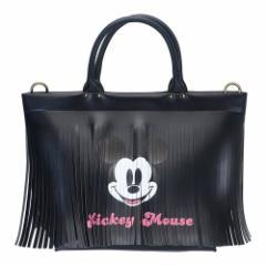 ミッキーマウス トートバッグ DELI デリ フリンジ ブラック ディズニー 34×25×9.5cm キャラクター グッズ 送料無料
