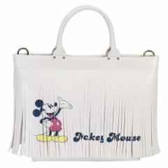 ミッキーマウス トートバッグ DELI デリ フリンジ アイボリー ディズニー 34×25×9.5cm キャラクター グッズ 送料無料