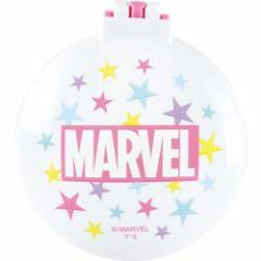 マーベル 手鏡 丸型 ミラー ブラシ ロゴ ピンク コンパクトブラシ キャラクター グッズ