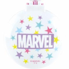 マーベル 手鏡 丸型 ミラー ブラシ ロゴ パープル コンパクトブラシ キャラクター グッズ