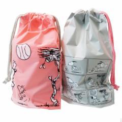 スヌーピー ギフト 巾着バッグ ビニール SS 2枚セット ラッピング用品 バスケットボール ピーナッツ 17×24×6cm メール便可
