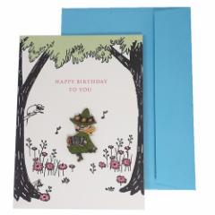 ムーミン グリーティングカード ウッドパーツ バースデーカード スナフキン 北欧 お誕生日おめでとう キャラクター グッズ メール便可