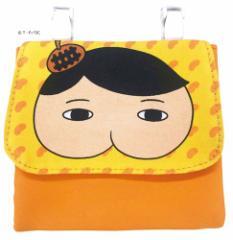 おしりたんてい クリップポケット ショルダー付き ポケットポーチ オレンジ 13×12cm キャラクター グッズ メール便可