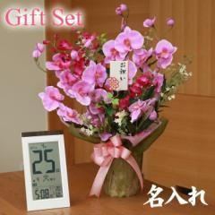 【 送料無料 名入れ 】花 ぷらす 《 日めくり 電波時計 》 ツイン胡蝶蘭 319A70-KW9254 ギフトセッ