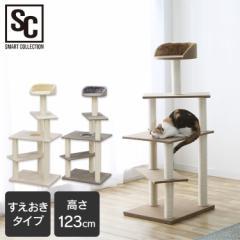 キャットタワー 据え置き 置き型 省スペース CCCT-4355S コンパクト ベージュ ブラウン グレー 猫 おもちゃ 子猫 猫タワー シンプル ネコ