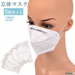 不織布 立体マスク 5枚セット 使い捨て 6層構造 個包装 箱無し 男女兼用 PM2.5 花粉 国内発送 ゆうパケット2点まで [M便 1/2] MK004