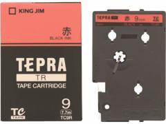 キングジム/TR用テープ パステル 9mm 赤/黒文字/TC9R