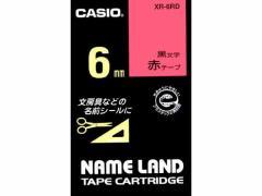 カシオ/ネームランド スタンダード 6mm 赤/黒文字/XR-6RD