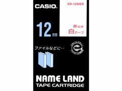 カシオ/ネームランド スタンダード 12mm 白/赤文字/XR-12WER