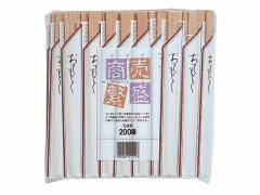 大和物産/割り箸 白樺20.5cm 元禄 袋入り 200膳