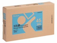 Forestway/ゴミ袋(ティッシュBOXタイプ)透明 45L 100枚