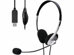 エレコム/両耳小型オーバーヘッドUSBヘッドセット 1.8m/HS-FBE01USV