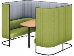 コクヨ/インフレーム ソファーブース4人用H1350天板薄茶フレーム黒グリーン