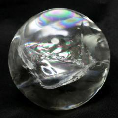 【最高級】 天然 虹入り水晶 丸玉 約46mm 送料無料天然石 パワーストーン 水晶 水晶玉 原石 置物 丸玉 レインボークォーツ