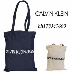 ck Calvin Klein JEANS 30%OFF トートバッグ ロゴ HH1783C7600 オフホワイト・ネイビー 男女兼用