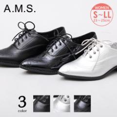 レースアップシューズ レディース オックスフォード ウィングチップ おじ靴 エナメル 大きいサイズ とんがりトゥ ポインテッドトゥ 靴